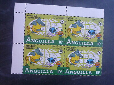 ANGUILLA 1982 FOOTBALL WORLD CUP DISNEY CHARACTERS 10c RATE BLK 4 MINT STAMPS