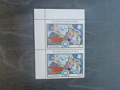 St VINCENT 1989 INDIA STAMP EXPO DISNEY CHARACTERS PAIR OF 10c RATE MINT STAMPS