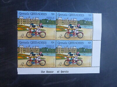 GRENADINES 1989 PHILEXFRANCE '89 DISNEY CHARACTERS 10c RATE BLK 4 MINT STAMPS