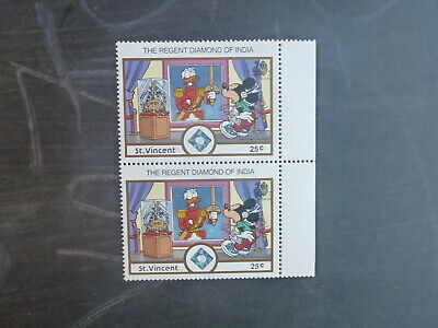 St VINCENT 1989 INDIA STAMP EXPO DISNEY CHARACTERS PAIR OF 25c RATE MINT STAMPS