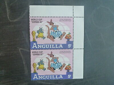 ANGUILLA 1982 FOOTBALL WORLD CUP DISNEY CHARACTERS 5c RATE BLK 2 MINT STAMPS
