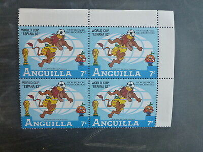 ANGUILLA 1982 FOOTBALL WORLD CUP DISNEY CHARACTERS 7c RATE BLK 4 MINT STAMPS