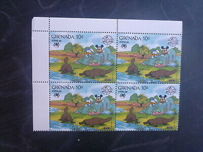 GRENADA 1988 60th ANNIV MICKEY DISNEY CHARACTER STAMPEX '88 10c RATE BLK 4 STAMP