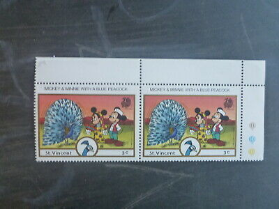 St VINCENT 1989 INDIA STAMP EXPO DISNEY CHARACTERS PAIR OF 3c RATE MINT STAMPS