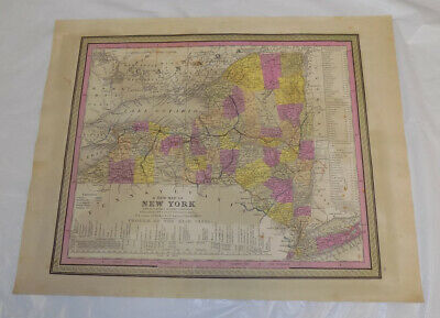 1846 Antique COLOR Mitchell Map of NEW YORK