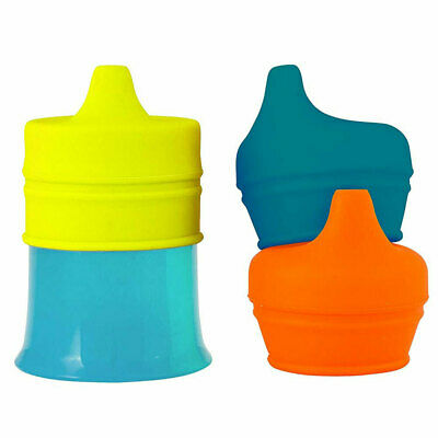 Boon Snug Spout Boys/Baby Kids Drink Toddler Container Silicone Lids w/ Cup Blue