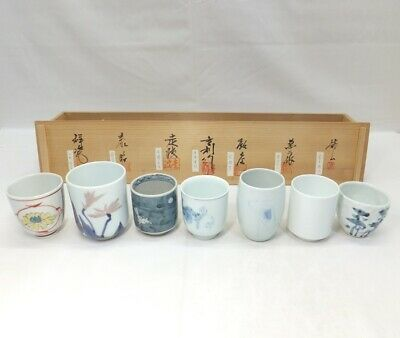 E438: Japanese 7 teacups of ARITA porcelain by great ceramists MANJI INOUE, etc