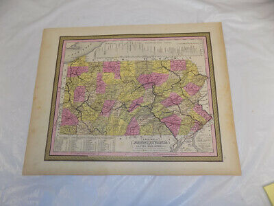 1846 Antique COLOR Mitchell Map of PENNSYLVANIA