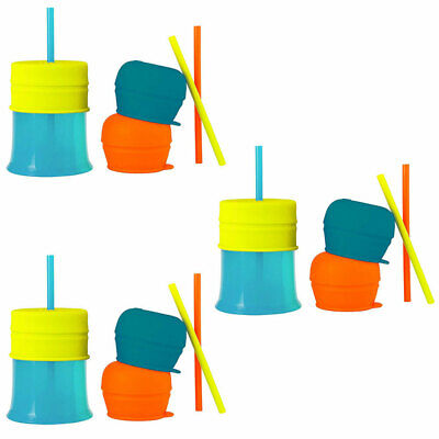 3PK Boon Snug Baby/12m+/Boy/Baby Drinks Water Cup Straw Silicone w/ Lids - Blue