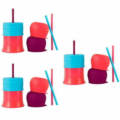 3PK Boon Snug Baby/Girl/Infant Drinks Water Cup Straw Silicone w/ Lids - Pink