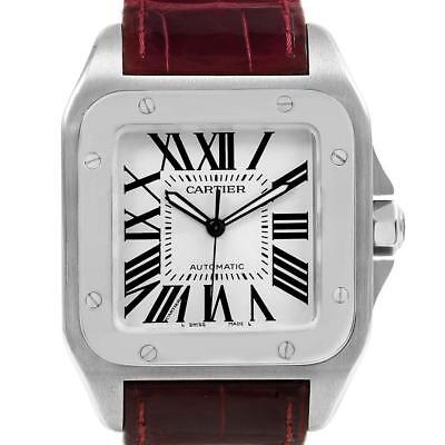 d7c96ea3fac CARTIER SANTOS 100 Large Size Stainless Steel on Leather Strap Ref ...