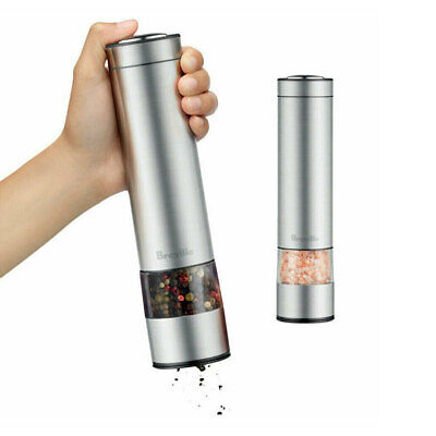 2pc Breville 23cm Electric Salt & Pepper Mill/Grinder/Shaker Stainless Steel