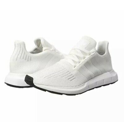 ac5a312405cff Adidas Originals Swift Run CG4112 White White Black Knit Textile Athletic  Shoes