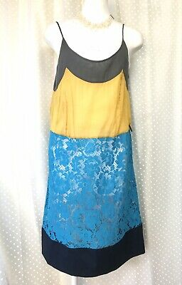 PRADA: NWOT! Turquoise Blue Deep Green Yellow Floral Lace CottonBlend Cami Dress