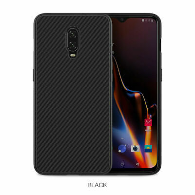 For OnePlus 6T Shockproof Slim Synthetic Carbon Fiber Case Cover Black