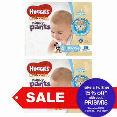 112PK Huggies Ultimate Nappy Pants Toddler Nappies Diaper Size 4 Boys 10-15kg