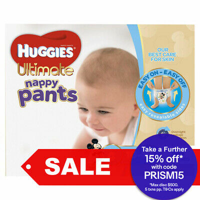 56PK Huggies Ultimate Nappy Pants Toddler Nappies Diaper Size 4 Boys 10-15kg