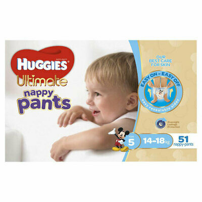 51PK Huggies Ultimate Nappy Pants Junior Nappies Diaper Size 5 Boys 14-18kg