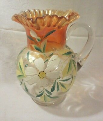 """Vintage Fenton Hand Painted Marigold Carnival Glass Large Pitcher 9 1/2"""""""