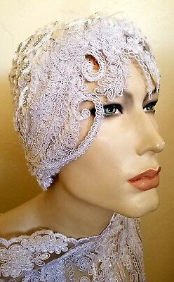 Gatsby 20's Scalloped Beaded Lace Crystal Flapper Bridal Wedding Headpiece Hat