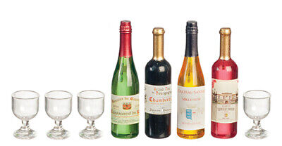 Dollhouse Miniature Bottles of Wine and Glasses (4 each) -- 1:12 Scale