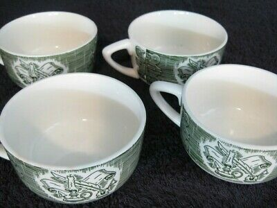 Set of 4 Old Curiosity Shop Coffee Cups (green) vintage Royal China USA