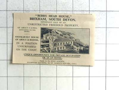 1935 Berry Head House Brixham South Devon Suitable As Hotel For Sale