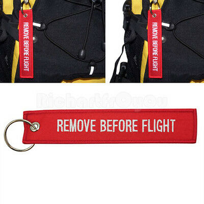 Remove Before Flight Red Embroidered Key Chain Luggage Tag Label Key Chain Acces