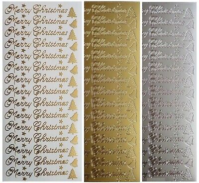 ELEGANT MERRY CHRISTMAS Peel Off Stickers Fine Script Gold or Silver