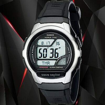 Casio Mens Black Atomic WAVECEPTOR Atomic World Time Resin Watch WV58A-1A New