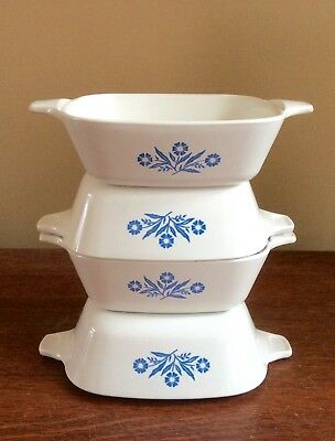 4 Corning Ware Blue Cornflower Petite Pan Casserole Dish P-41 Single Serve