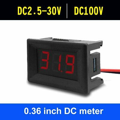 1x 2/3wire Mini DC 5-30V Voltmeter LED Panel 3-Digital Display Voltage Meter