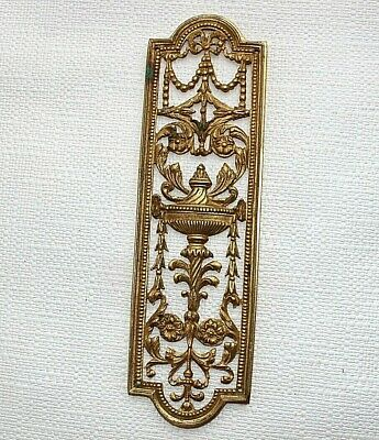 Brass Door Finger plate Old 27cm high approx Urn Swags Flowers Home decor G