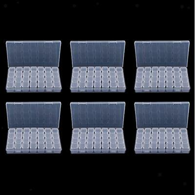 6Pack 168 Grids Clear Small Parts Storage Box Beads Container Organizer Case