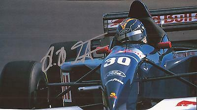 FORMULA ONE * HEINZ HAROLD FRENTZEN SIGNED 7x4 ACTION MAGAZINE PICTURE+COA