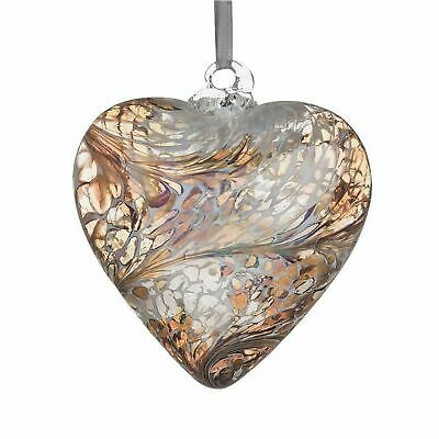 Sienna Glass Pastel Gold 8cm Friendship Heart Hanging Hand Crafted Ornament Gift