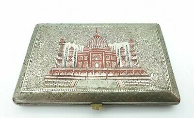 Vintage Trench Art Red Enamel Cigarette Cases Engraved Mosque *Good Condition*