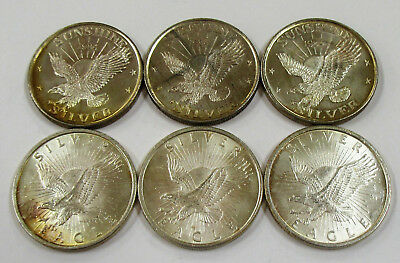 Lot of 6 Old Sunshine Minting  1 oz .999 Fine Silver Rounds with Toning