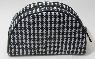 NWOT Punctuate Womens Makeup Cosmetic Accessories Bag Black & White Houndstooth