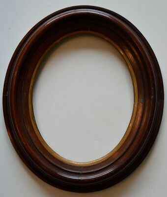 American Antique Black Walnut Oval Painting Picture Frame Gilt Liner Victorian