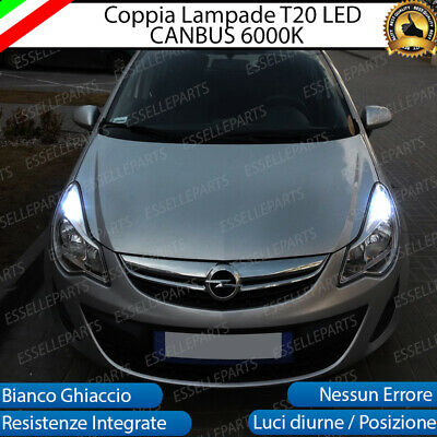Coppia Luci Diurne Drl Led T20 Canbus Opel Corsa D 6000K Bianco 100% No Error