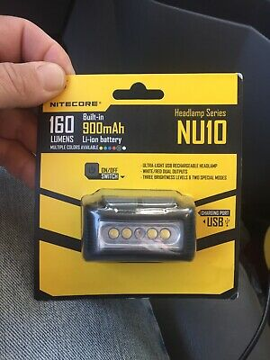 Nitecore NU10 160 Lumens USB Rechargeable Headlamp w/ White and Red LED - Yellow