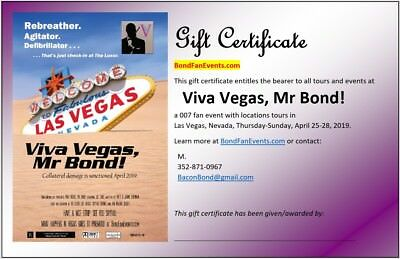 Gift Certificate for Viva Vegas, Mr Bond! - Tours on Location in The Silver City