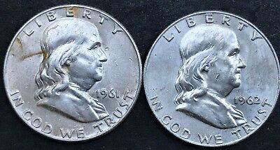 1961 D, & 1962 D Silver Franklin Half Dollars, LOT OF TWO, Estate Coins, MP