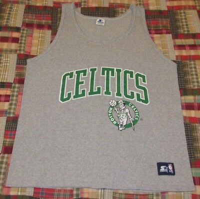 08583b74e66cc1 VTG 90s Starter Boston Celtics NBA Cotton Basketball Jersey Tank Top Shirt  L XL