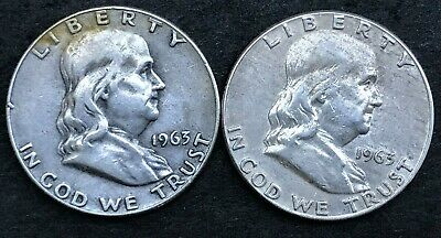 1963 P & 1963 D Silver Franklin Half Dollars, LOT OF TWO, Estate Coins, MP