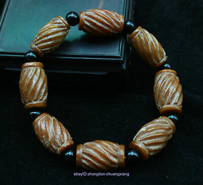 2CM Collect Chinese Ancient Natural Old Jade Hand-carved Bracelets Jewelry ZCVV