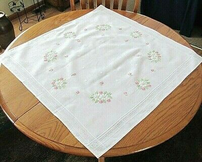 """Neutral,Square Embroidered White,Pink Floral,Pulled Threads Tablecloth 31""""x 31"""""""