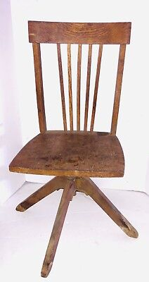 Vintage Child Children Kids antique wood swivel Armless bankers chair Seat