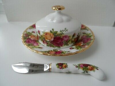 Royal Albert, Old Country Roses Round Covered Butter Dish & Spreader
